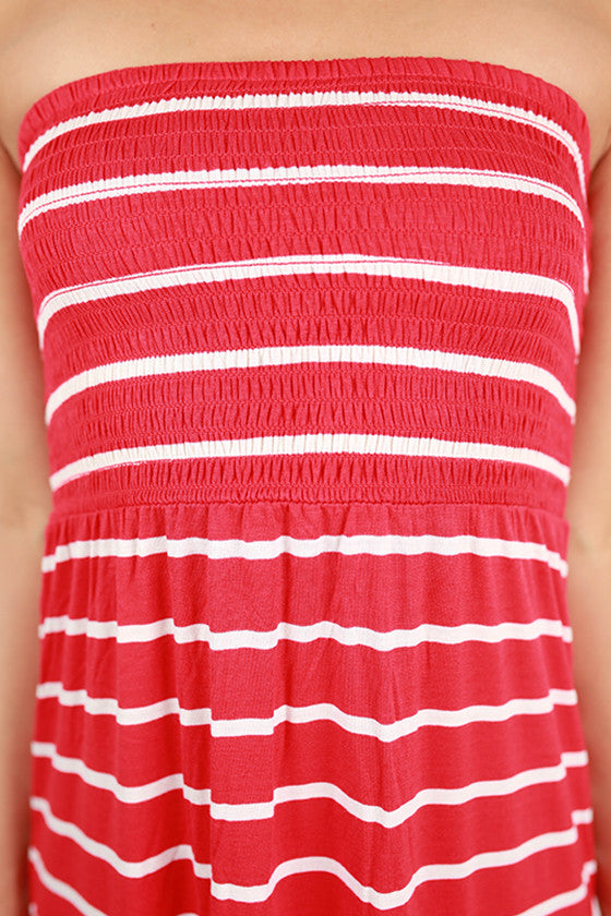 Beach Babe Stripe Tube Maxi in Red
