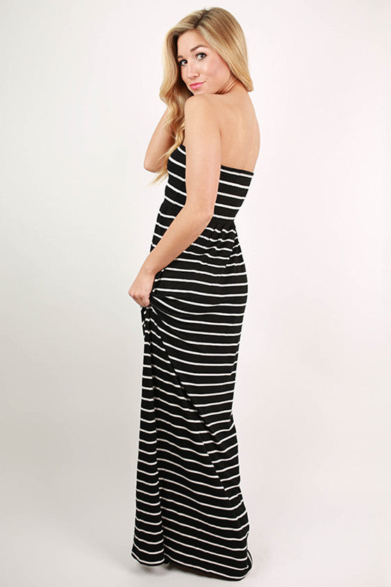 Beach Babe Stripe Tube Maxi in Black