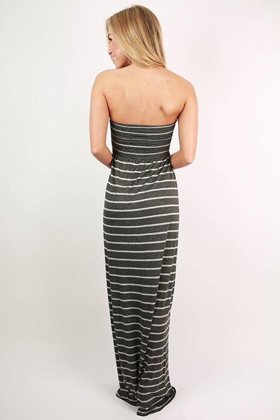 Beach Babe Stripe Tube Maxi in Grey