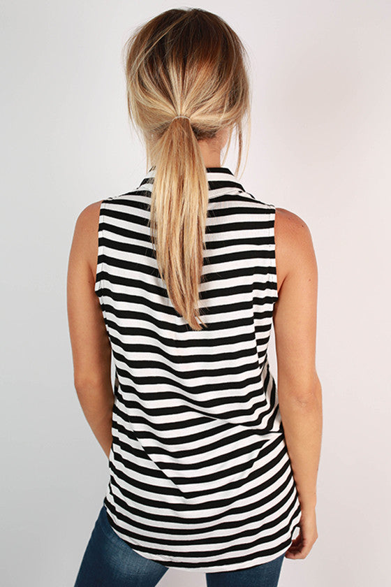 French Market Stripe Tank in Black