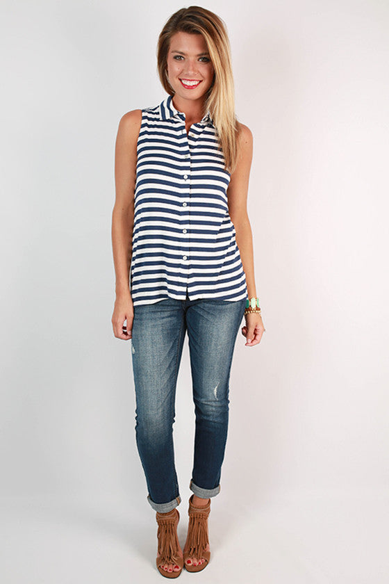 French Market Stripe Tank in Navy