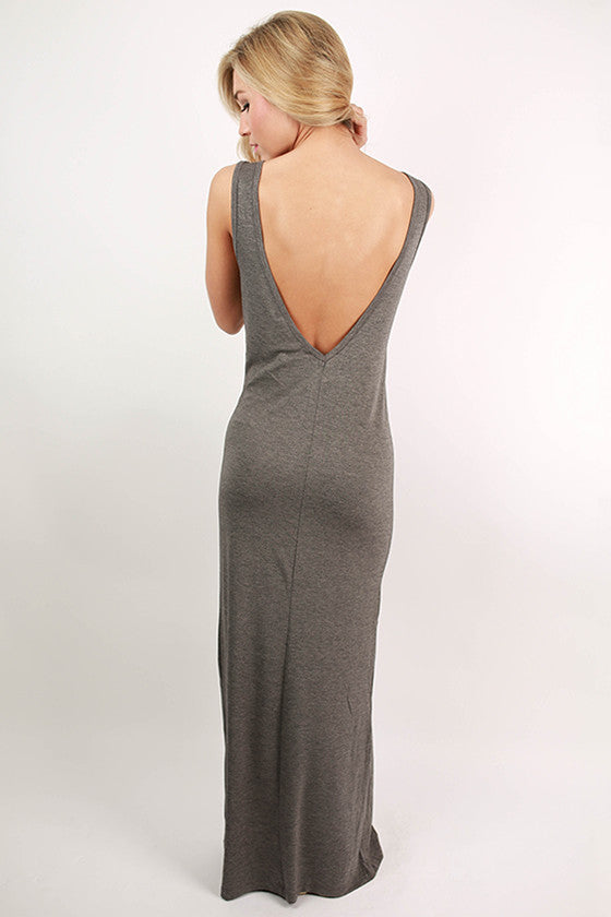 Off the Runway Maxi in Dark Grey