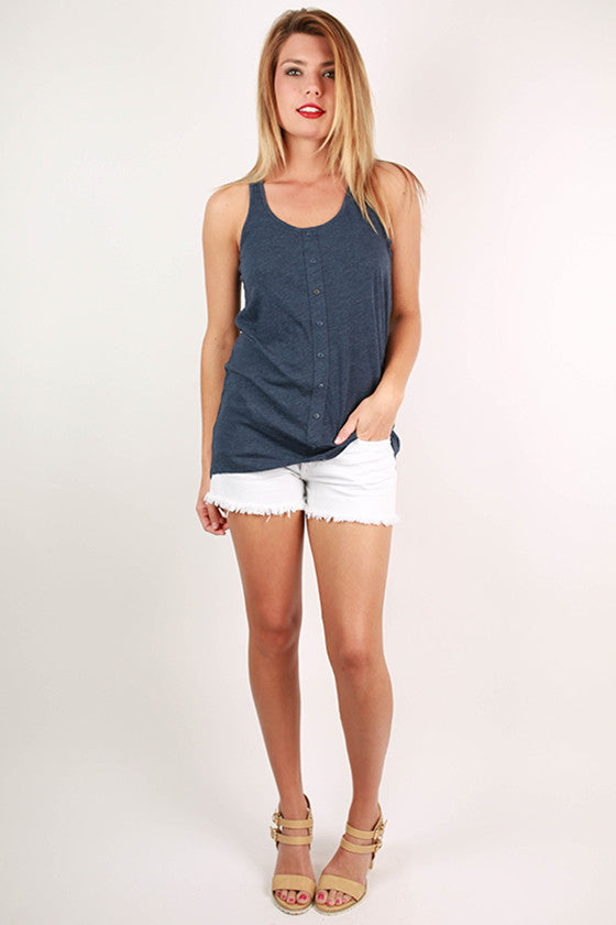 Bonnaroo Beauty Button Tank in Indigo