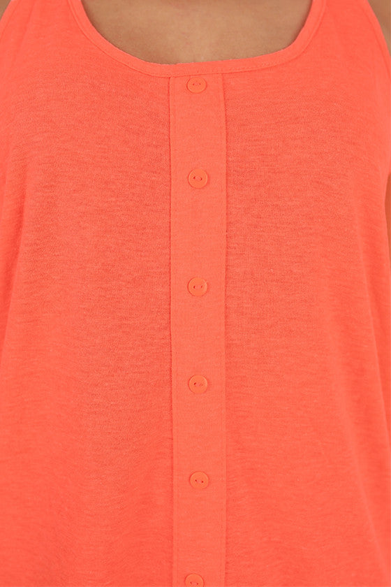 Bonnaroo Beauty Button Tank in Neon Coral