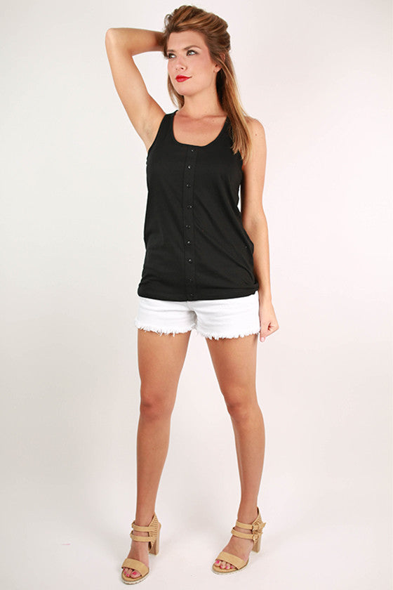 Bonnaroo Beauty Button Tank in Black
