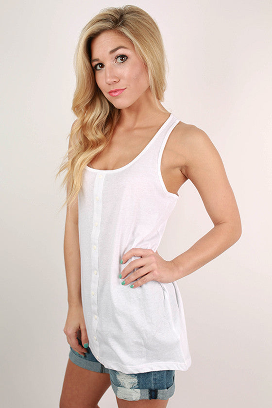 Bonnaroo Beauty Button Tank in White