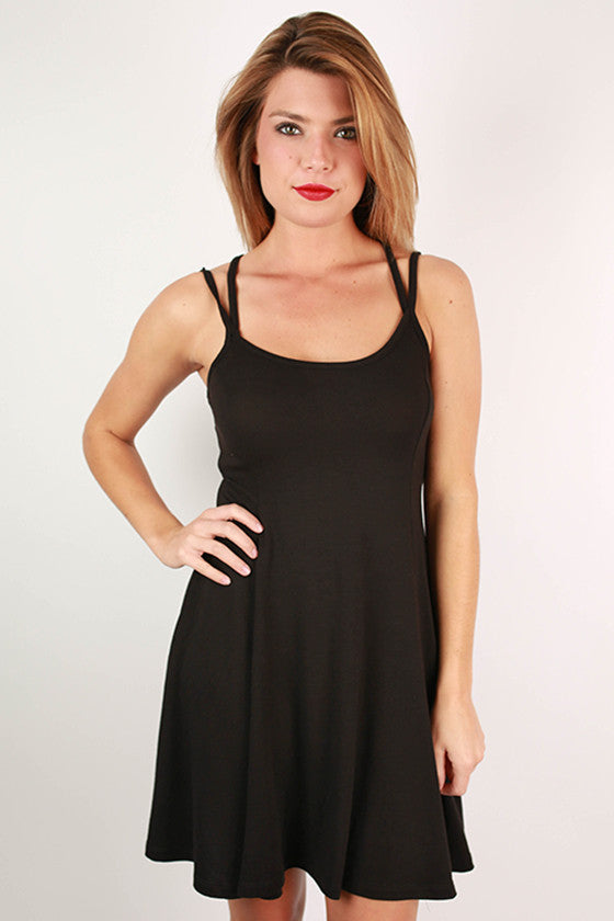 Dance Party Mini Flare Dress in Black
