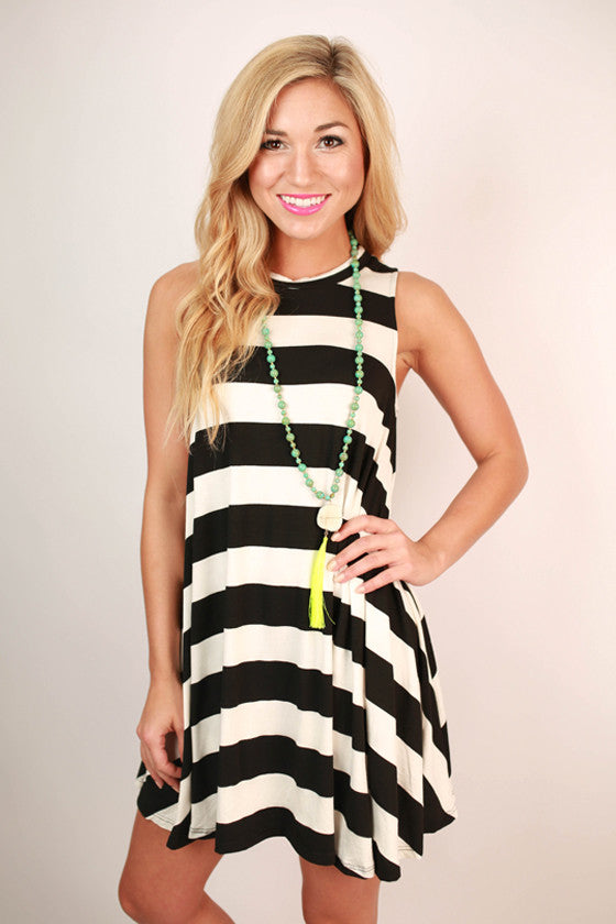 Afternoon Stripes Tunic Dress in Black