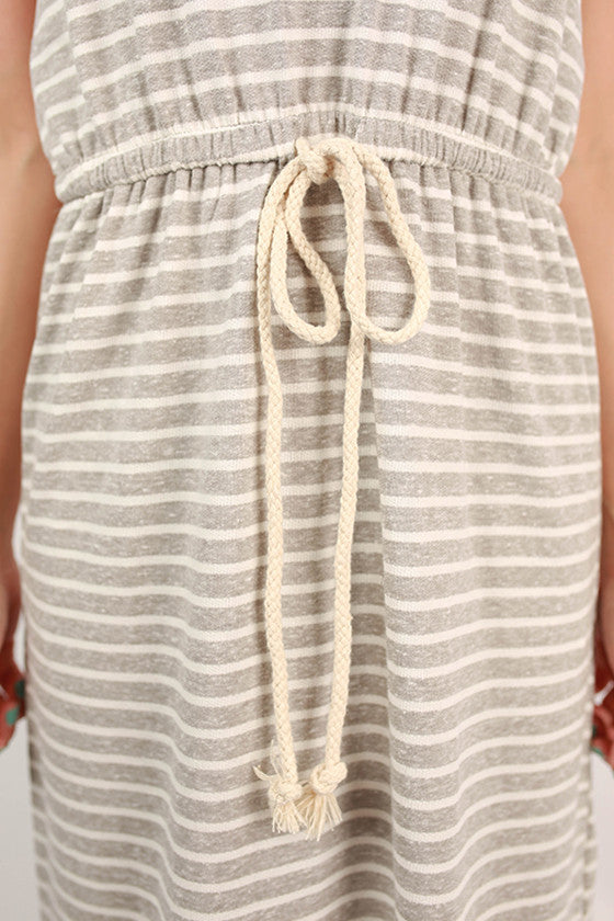 Memory Lane Stripe Maxi Dress in Grey