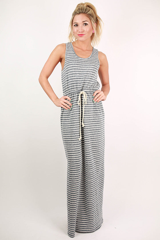 Memory Lane Stripe Maxi Dress in Slate