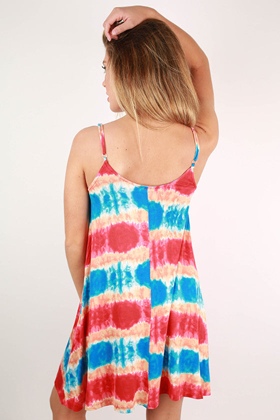 Sherbet Sunsets Tank Dress in Red