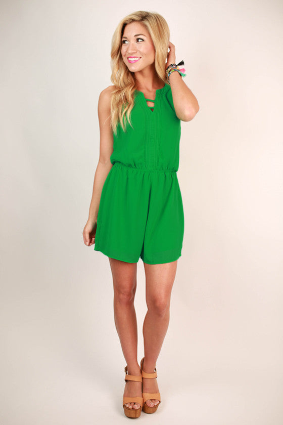 Modern Day Girl Romper in Green
