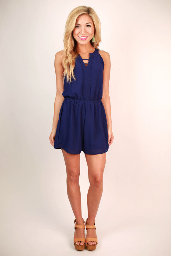 Modern Day Girl Romper in Royal Blue