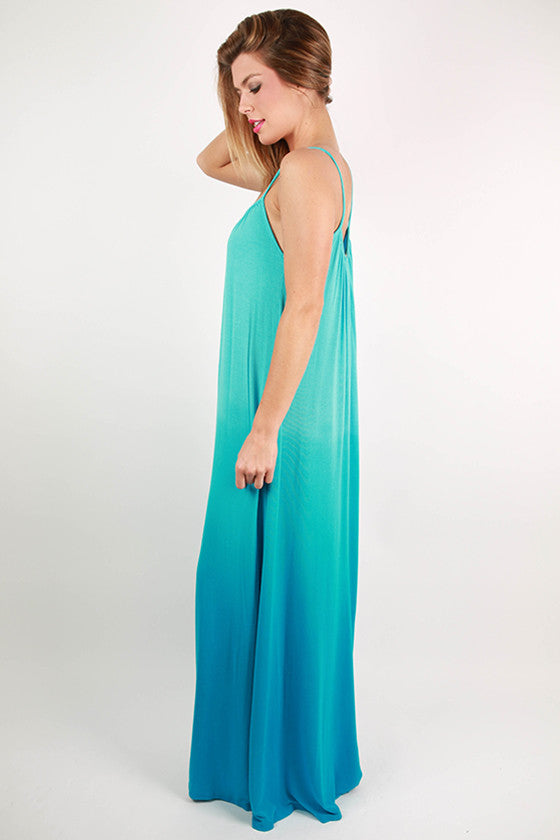 Sweet Sunsets Tank Maxi Dress in Ocean Blue