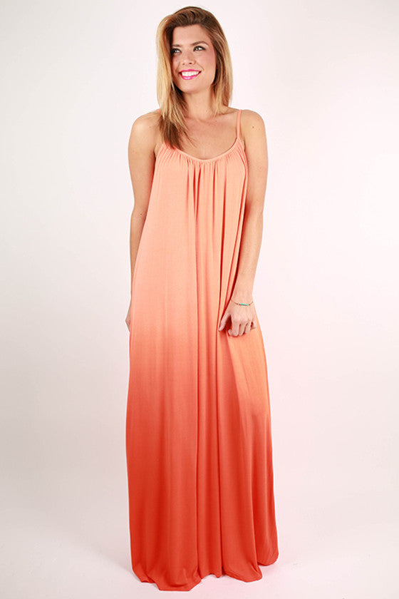 Sweet Sunsets Tank Maxi Dress in Apricot