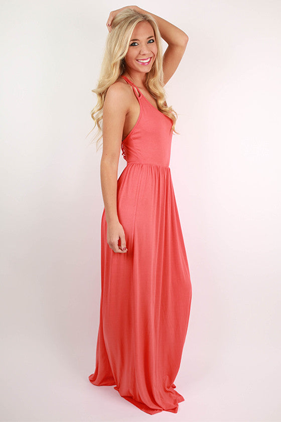 Summer Sunrise Maxi Dress in Coral