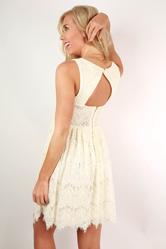 Tea & Roses Lace Dress in Cream
