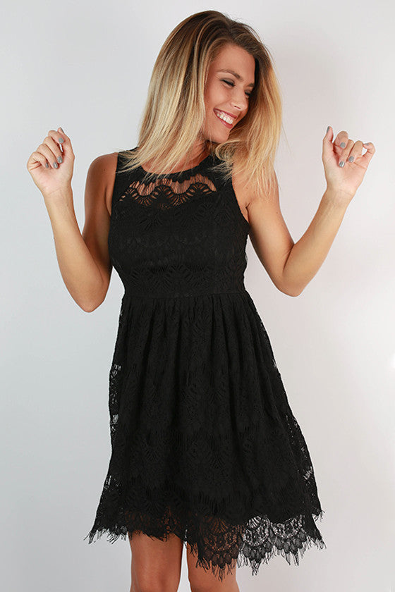 Tea & Roses Lace Dress in Black