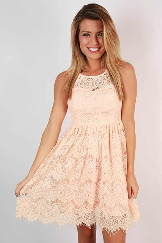 Tea & Roses Lace Dress in Peach