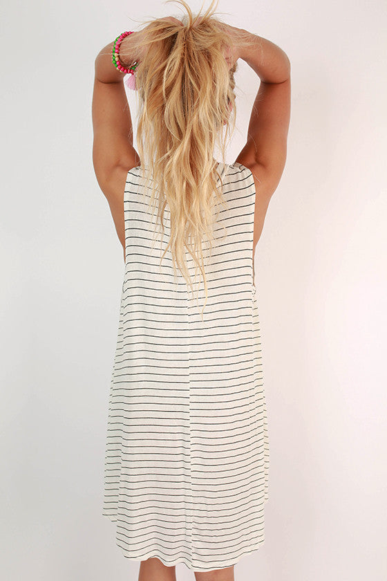 Meet Me By The Pier Stripe Dress in Ivory