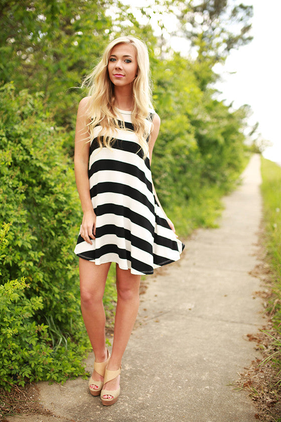 Taking It Easy Stripe Dress in Black