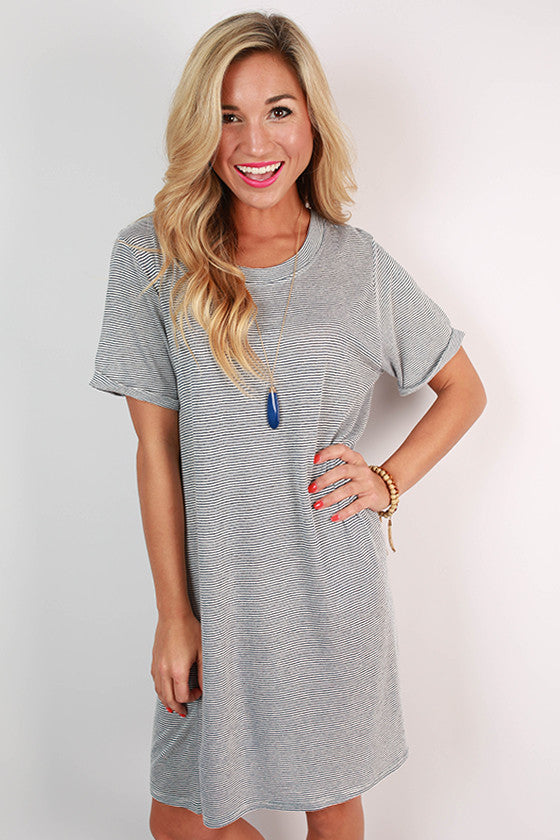 Study With Me Stripe T-Shirt Dress in Blue