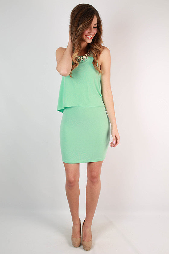 Lola Layered Tank Dress in Aqua Sky