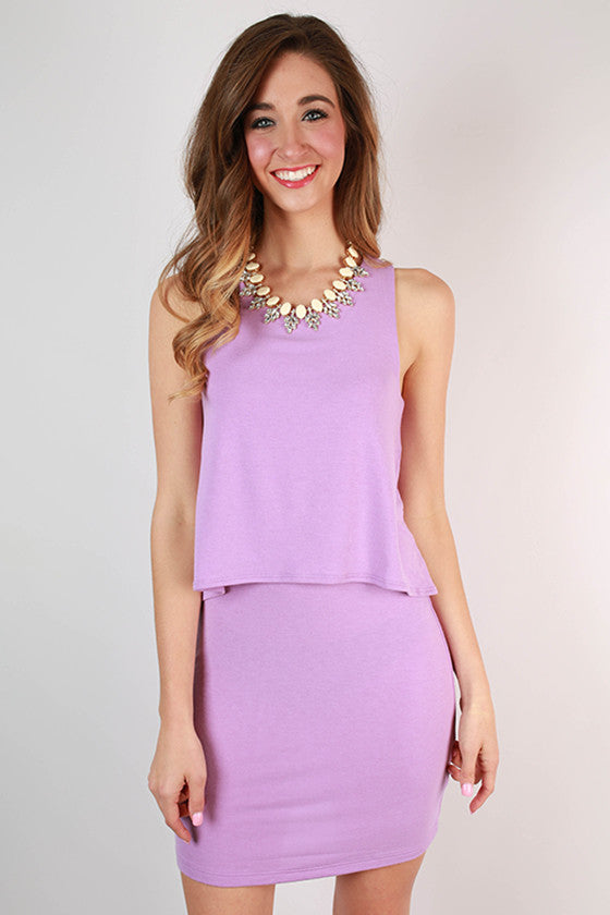 Lola Layered Tank Dress in Lavender
