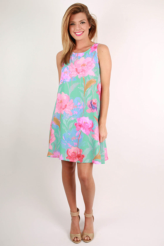Feeling Fancy Floral Dress in Aqua Sky