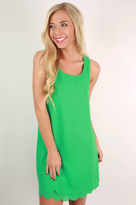 Sweet For Soho Scallop Shift Dress in Jade