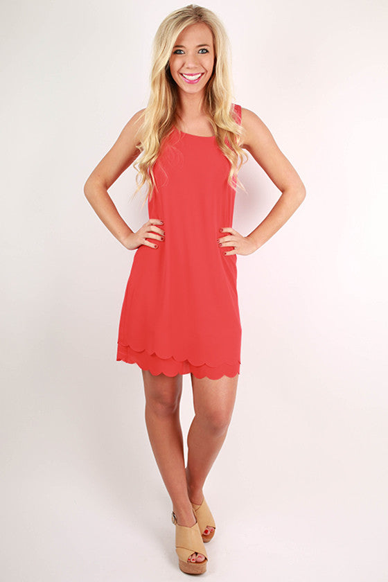 Sweet For Soho Scallop Shift Dress in Tomato