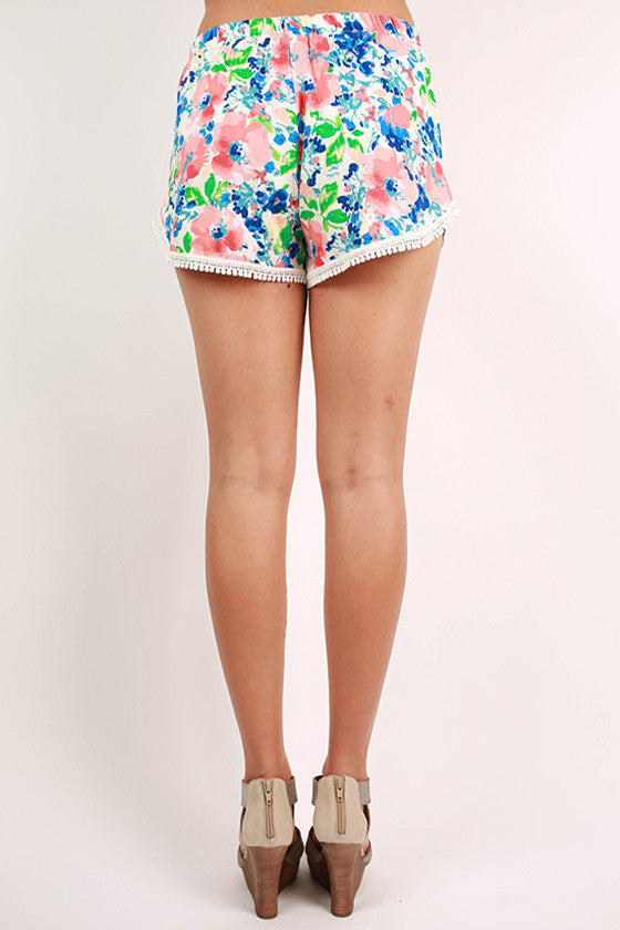 Love Of Floral Lace Trim Shorts in White