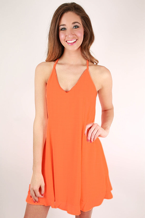 Ice Cream Social Flare Dress in Neon Peach