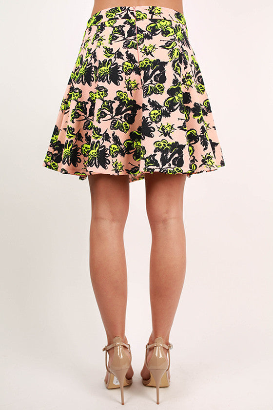 Summer in Soho Floral Skirt in Peach