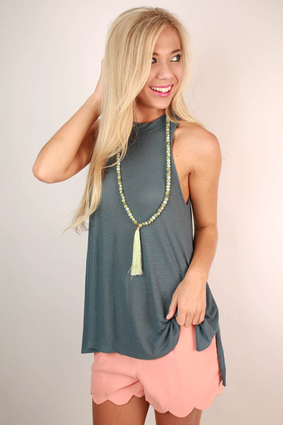 Stylish For Days Ribbed Tank in Slate