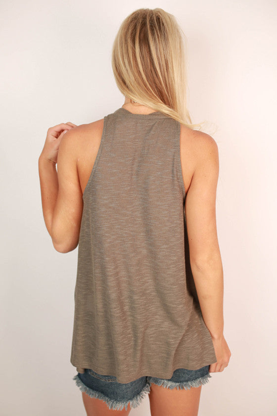 Stylish For Days Ribbed Tank in Smokey Black