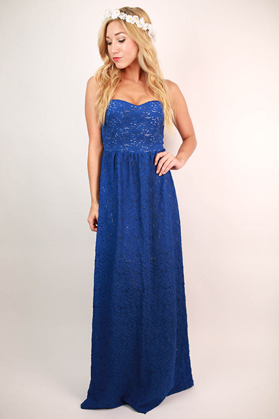 Beauty in Blue Lace Maxi Dress in Royal Blue