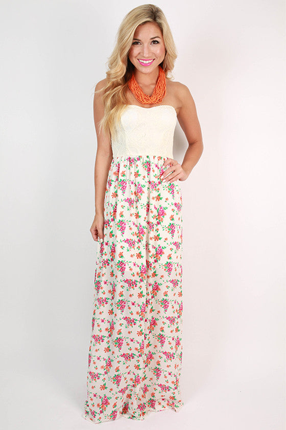Lace Lovely Floral Maxi Dress