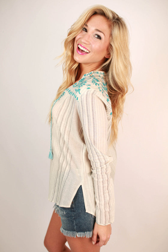 Always Smiling in Stripes Embroidered Top in Electric Blue