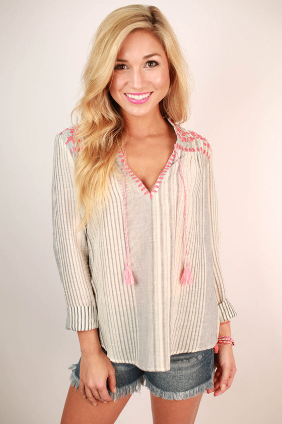Always Smiling in Stripes Embroidered Top in Coral