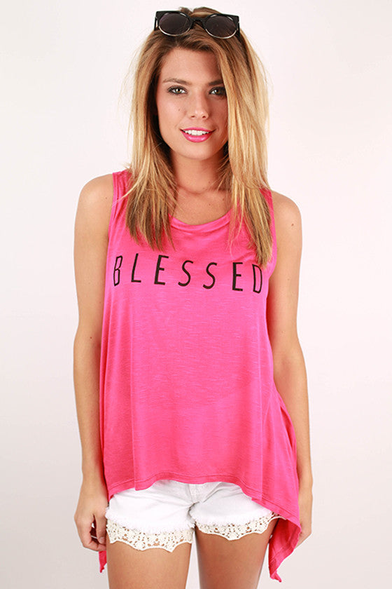 Blessed Graphic Tank in Hot Pink