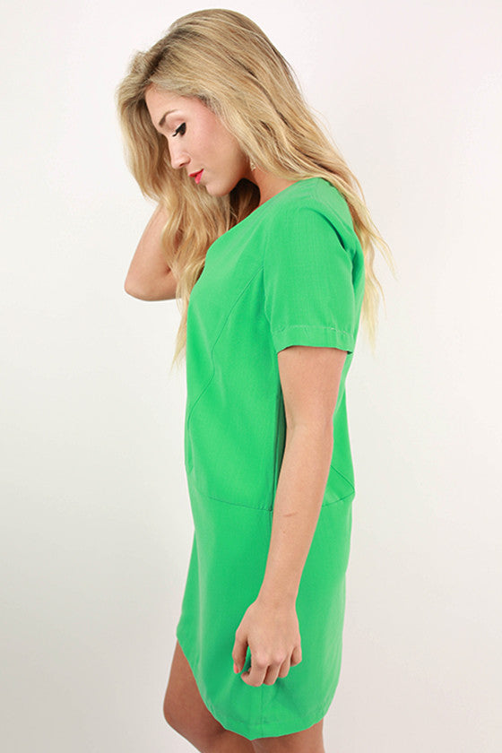 Cosmos in The City Shift Dress in Jade