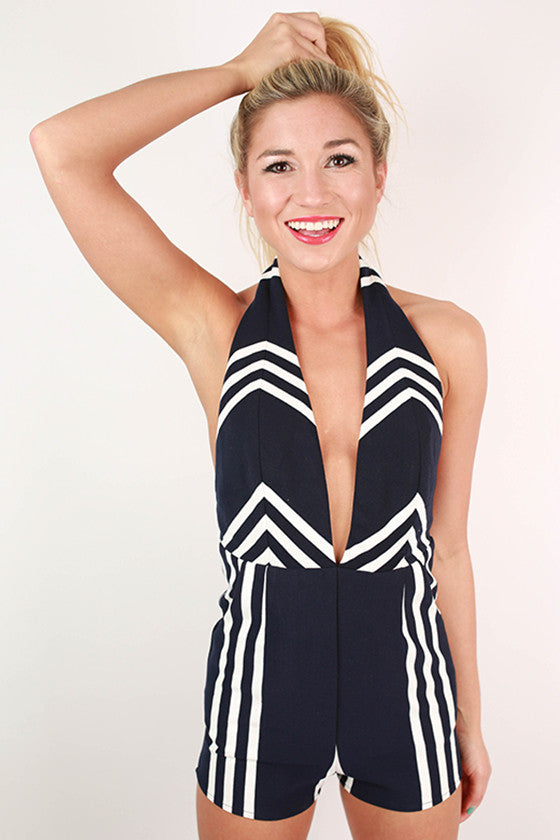 Secret Crush Stripe Halter Romper in Navy