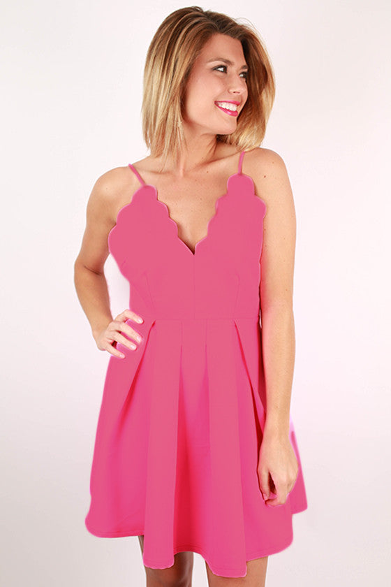 Seaside Love Scalloped Spaghetti Strap Dress in Pink