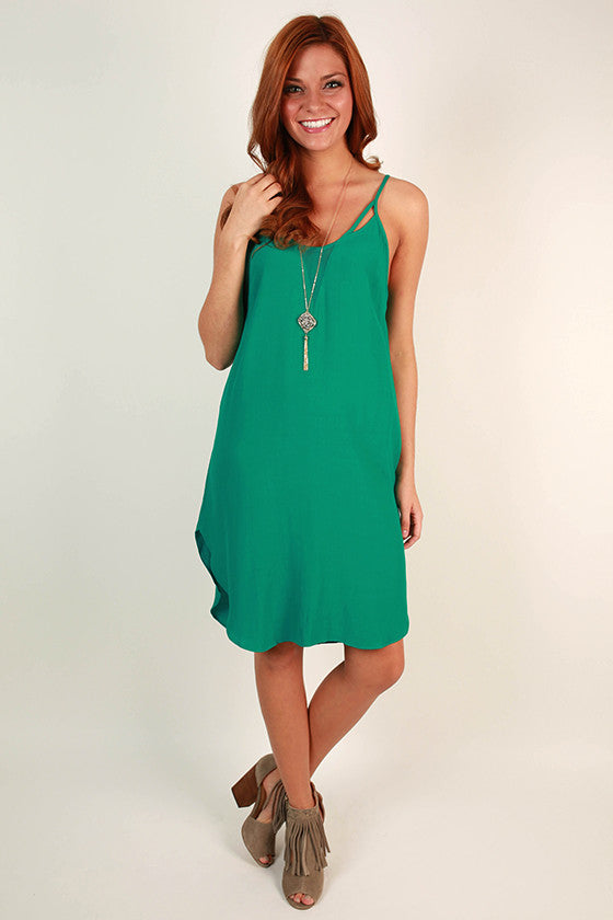 Trip to the Bahamas Twirl Dress in Emerald