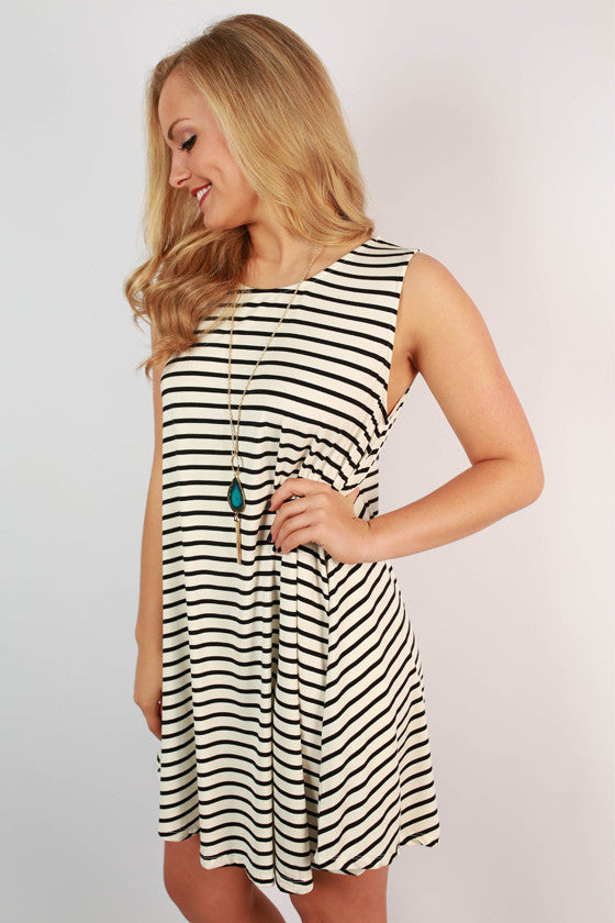 Always Stylin' in Stripes Tunic Dress in Ivory