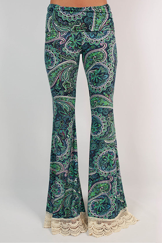 Lola Lovely Crochet Trim Bell Bottom Pants in Navy
