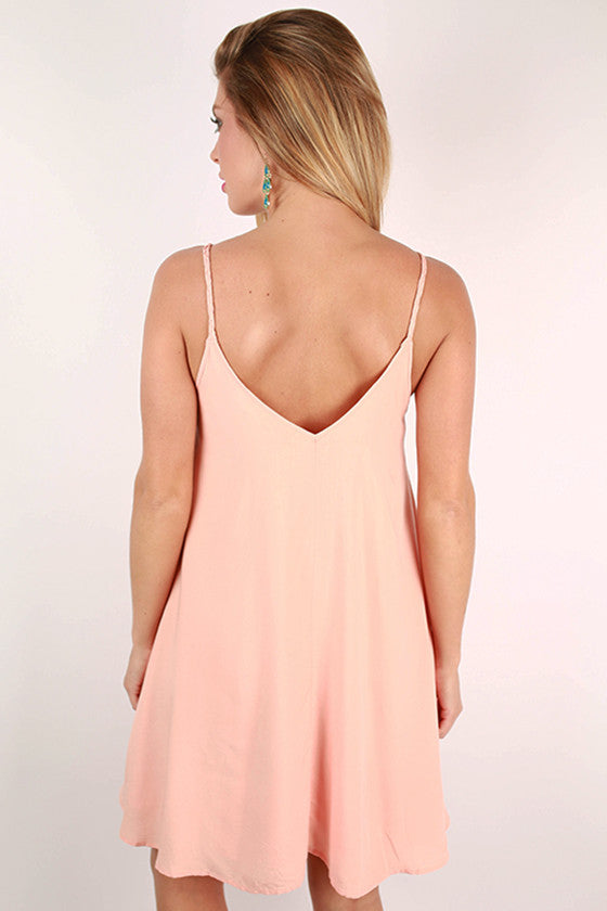 Tahiti Getaway Embroidered Dress in Peach