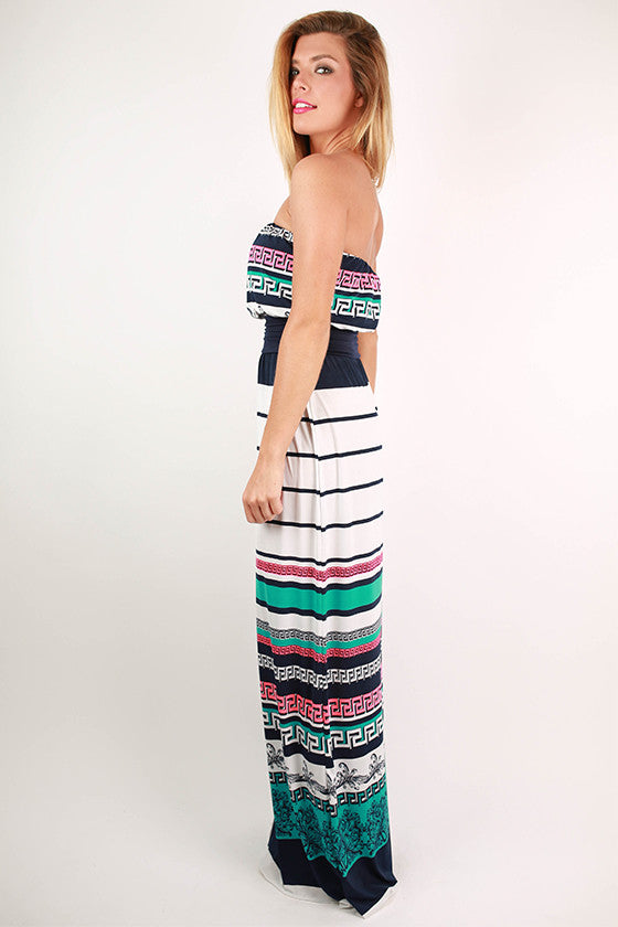 Total Babe Stripe Maxi Dress in White