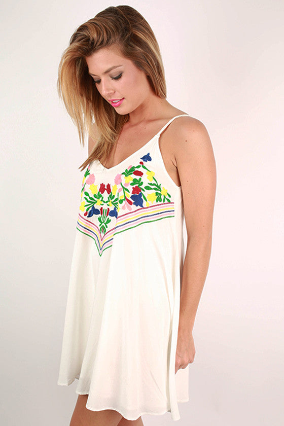 Tahiti Getaway Embroidered Dress in White